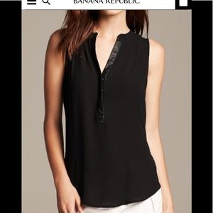 Faux-Leather Trim Sleeveless Blouse